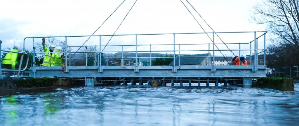 Installation of off-site manufactured, bridge-integrated Rotex Brush Aerator
