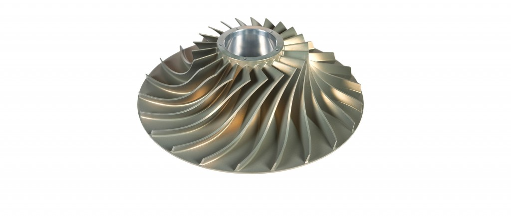 The impeller uses both axial and radial compression for greater efficiency